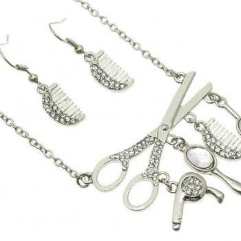 Silver Hairdresser Necklace Set